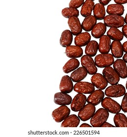 Red dried jujube isolated on white background