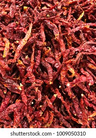 Red dried long chillies