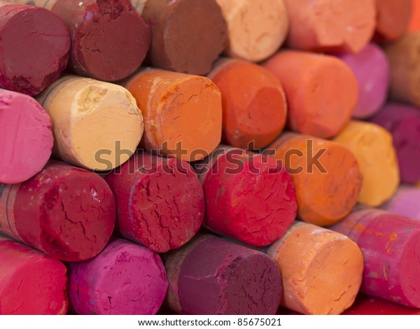 red dried pastels