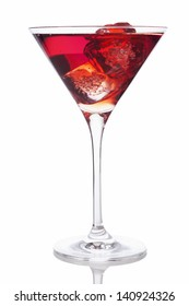 Red drink in Martini glass with ice cubes isolated