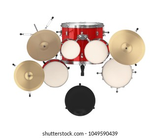 Red Drum Kit Isolated (top view). 3D rendering