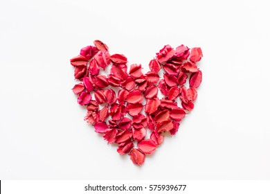 Red dry leaves heart shape