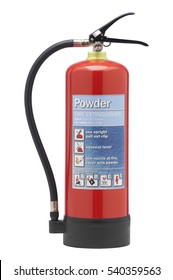 RED DRY POWDER FIRE EXTINGUISHER ON WHITE BACKGROUND