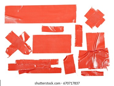 Red duct repair tape isolated on white background
