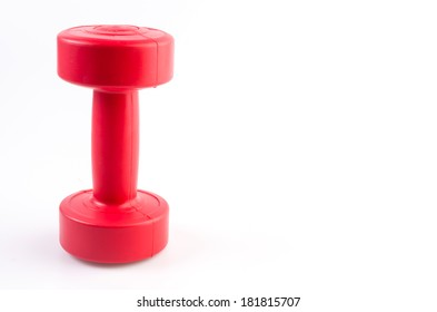 Red dumbells weight isolated on white background