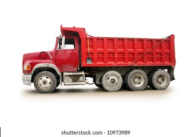 Red dump truck with natural shadow, isolated on white [names removed].