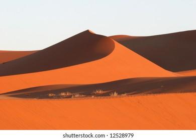Red dunes against blue clear sky. Sossusvlei. Namib desert. Namibia.