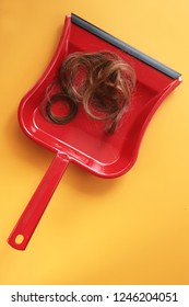 Red dustpan with strands of hair