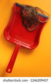 Red dustpan und strands of cut hair