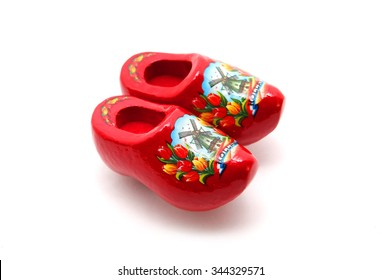 Red Dutch clog with Holland isolated on white