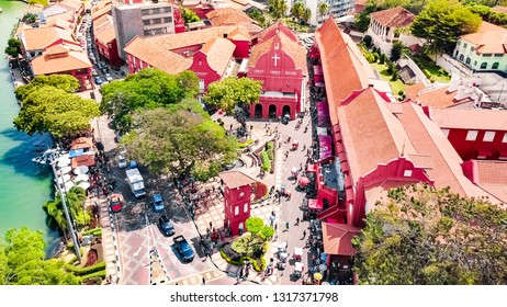 The Red Dutch Square, Landmark Buildings of Melaka City, a UNESCO World Heritage Site of the Straits of Malacca in Malaysia, Southeast Asia