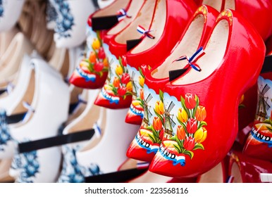 Red Dutch wooden shoes in Amsterdam shop