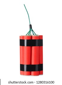 Red dynamite firecracker with fuse isolated on a white background