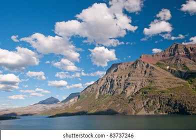 Red Eagle Mountain with summer clouds in Glacier National Park