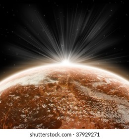 Red earth globe - planet and universe exploration - sunrise