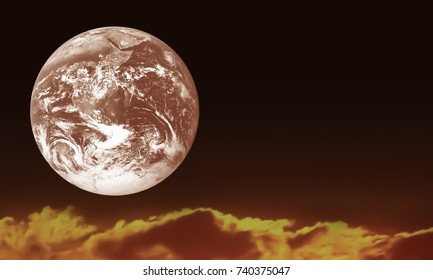 Red earth on fire background.Environment and Ecology awareness Concept.Image of earth furnished by NASA.