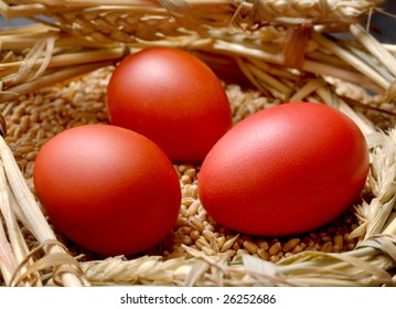Red Easter egg in wheat nest in close up