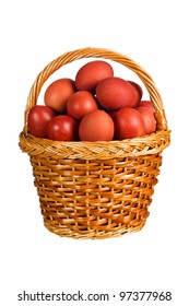 Red Easter eggs in the basket