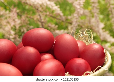 Red eggs over blurry spring background