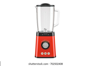 Red electric blender, 3D rendering isolated on white background
