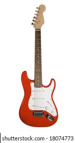 Red electric guitar isolated on white with clipping path