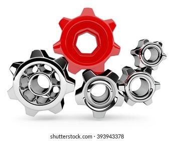 Red element in gear machine.