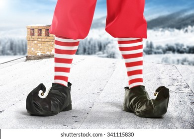red elf shoes and roof