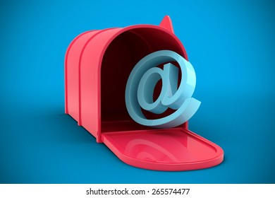 Red email post box against blue background with vignette