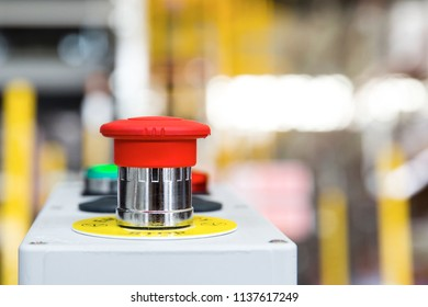 Red Emergency Button in the Factory, Safety Push in Industrial manufacturing to Stop