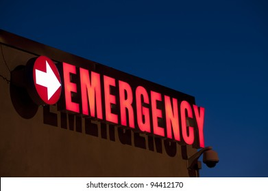 Red Emergency department entrance sign