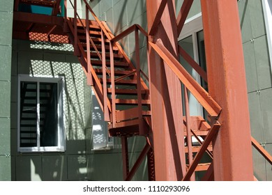 red emergency staircase