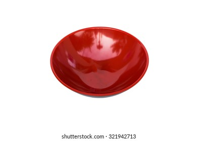 Red empty dish isolated on white background