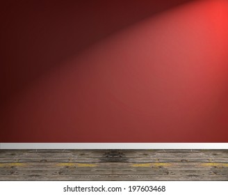 Red Empty Room Background with spotlight