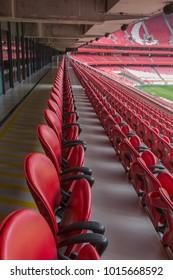 Red Empty Seating inside Da Luz Stadium in Lisbon, Portugal.