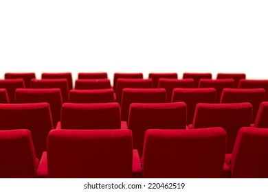 Red and empty theater seats isolated