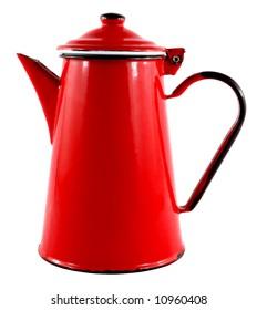 Red Enamel Tea/Coffee Pot