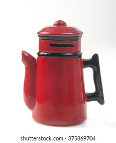 red enamel teapot coffee isolated on white background