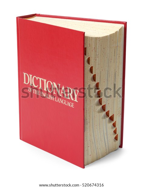 Red English Dictionary Isolated on White Background.