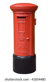Red English post box isolated on white