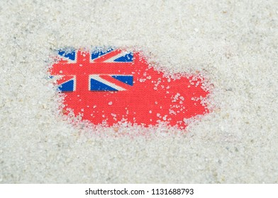 red ensign flag in the sand