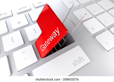 red enter key open with ladder in underpass gateway illustration
