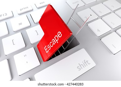 red enter key open with ladder in underpass escape 3D illustration