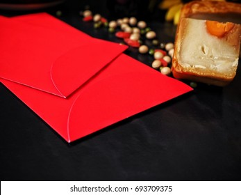 Red envelope chinese with festival moon cake