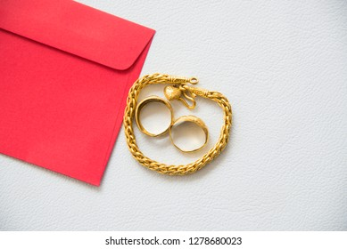 Red envelope with gold.Chinese new year 2019 concept.