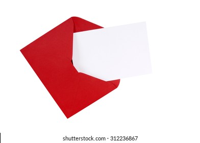 Red envelope open, blank white greeting card, isolated