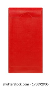 Red envelope with paper isolated on white background