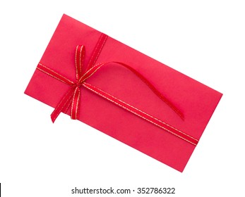red envelope with ribbon bow on white background