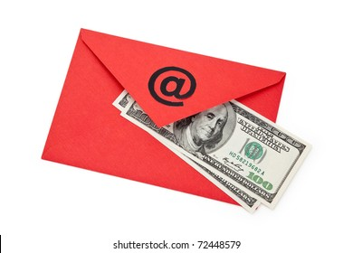 Red Envelope with at Symbol, concept of E-Mail