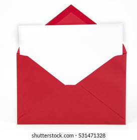 Red envelope and white card.