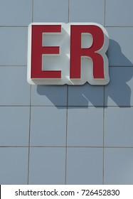Red ER sign to mark entrance to Emergency Room of hospital